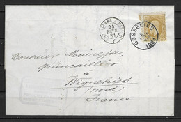 OBP32 Op Brief Van 24 Fevr. 1881 Vanuit Gosselies Naar Wignehies Met Doorgang- En Aankomststempel - 1869-1883 Leopold II