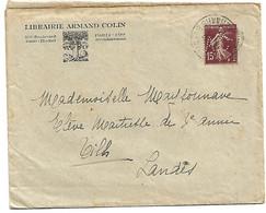 Lettre Librairie Armand Colin Timbre Perforé - 1921-1960: Periodo Moderno