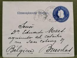 Mémorandum Postal, Oblitéré Exposition Cordoba 1902 Envoyé à Brussel - Cartas