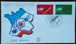 FDC 1972 - YT N°1719, 1720 - CODE POSTAL - PARIS - 1970-1979