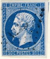 FRANCE - 1853-60 - N°14 20c Bleu Type I Planché (position D2-98) - Obl. TB - 1853-1860 Napoleon III