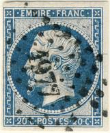 FRANCE - 1853-60 - N°14 20c Bleu Type I - Obl. B/TB (au Filet à Gauche) - Pc1977 (Metz) - 1853-1860 Napoleon III