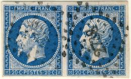 FRANCE - 1853-60 - Paire N°14 20c Bleu Type I - Obl. Pc.2738 (Rouen) Pli Sur 1 Timbre Sinon TB - 1853-1860 Napoléon III