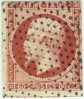 FRANCE - 1853-60 - N°17A 80c Carmin - Obl. Roulette De Pointillés - B (marges Courtes) - 1853-1860 Napoleon III