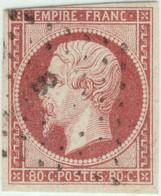 """FRANCE - 1853-60 - N°17B 80c Rose - Obl Losange """"B"""" - B/TB (touché En Haut) - 1853-1860 Napoléon III"""