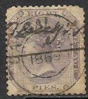 India   1865  Sc#21   8p  Victoria  Used  2016 Scott Value $12 - 1858-79 Kronenkolonie