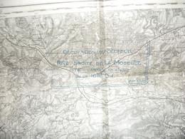 CARTE D ETAT MAJOR : OCCUPATION DU SECTEUR DE LA RIVE DROITE DE LA MOSELLE APRES L ENTREE EN LIGNE DE LA 168° D.I. - 1914-18