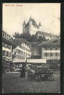 AK Thun, Schloss Und Blick Auf Das Markttreiben - BE Berne