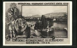 Passepartout-AK Genève, Conférence Internationale Du Désarmement 1932, Ile J. J. Rousseau - GE Geneva