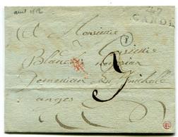 MAINE ET LOIRE De CANDE LAC Du 8/04/1812 Linéaire 22x8,5 + Verso Dateur Rouge Arrivée ANGERS - 1801-1848: Precursori XIX