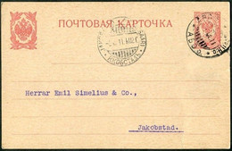 Russia Finland 1911 ÅBO-TURKU H:o 10 Pen. Stationery Card Finnland Russland Entier Finlande Russie > Jakobstad ERROR Pmk - Storia Postale