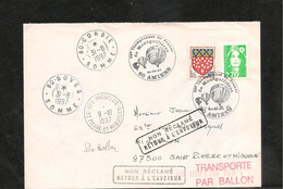 31-08-97 ENVELOPPE TRANSPORTÉE PAR BALLON DE AMIENS POUR MIQUELON - Briefe U. Dokumente