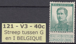N° 121 - V3 * 9,00 Euro  - Centrage +++ - Errors (Catalogue COB)