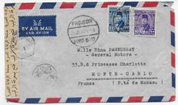 "EGYPTE - 1949 - ENV. Du NAVIRE ITALIEN T/S ""PENSILVANIA"" CENSUREE SUEZ => PRINCIPAUTE De MONACO ! OBLITERATION PAQUEBOT - Storia Postale"