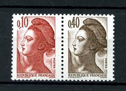 2179a -  10c+40c - Paire Liberté De Gandon - Issus De Carnet - Neufs N** - Très Beaux - 1982-90 Liberty Of Gandon
