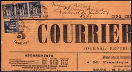 NN - [95069]TB//-NN-N° 83 4x Dont Une Bande De 3 Sur Frontispice De Journal De St-Julien-S-Reyssouze Le 1er Mai 1900 Pou - Storia Postale