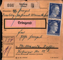 ! 1942 Saarburg , Westmark Nach Mittweida, Paketkarte, Deutsches Reich, 3. Reich - Covers & Documents