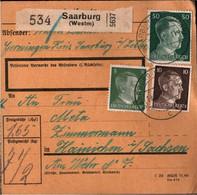 ! 1942 Saarburg , Westmark Nach Hainichen, Paketkarte, Deutsches Reich, 3. Reich - Covers & Documents