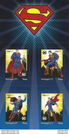 """PORTUGAL - """"meuselo"""" - DC Comics Superman (4 Self-adhesive Stamps) - Date Of Issue: 2020-06-01 - Fairy Tales, Popular Stories & Legends"""