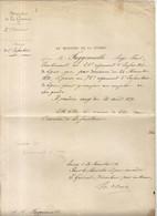 GUERRE 1870 . ARMEE DE LA LOIRE . GOUV REFUGIE A TOURS .CHANGEMENT DE REGIMENT - Documents