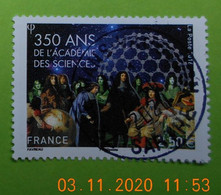 FRANCE 2016   YT N°5074    350eme ANN. ACADEMIE  DES  SCIENCES   Timbre  Neuf  Cachet   ROND - Gebruikt