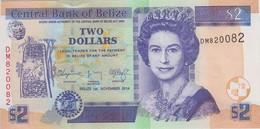 BELIZE 2 Dollars 2014 P 66 E UNC Serial Number 820082 - Belize