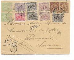SH 0691. N° 31 (2 - 1 Déft)-43(2)-49(3)-51(2)-53-54 CAYENNE 2.8.13 S/Lettre RECOMMANDEE V. PARAMARIBO (SURINAME). Bel Af - Storia Postale