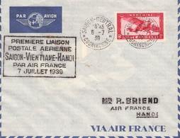INDOCHINE - PAR AVION 6-7 39 PREMIERE LIAISON SAIGON-VIENTIANE-HANOI //AK247 - Luftpost