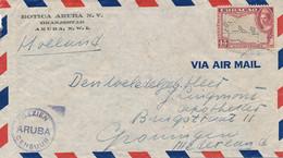 Curacao - 1945 - 45 Cent Luchtpost Op Censored Cover Van Aruba Naar Groningen - Gezien ARUBA Censuur - 50 - Curaçao, Nederlandse Antillen, Aruba