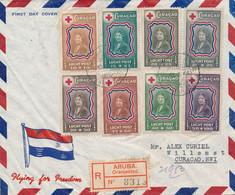 Curacao - 1944 - Red Cross Set - FDC Op Censored R-cover Van Aruba Naar Curacao - Gezien Censuur Curacao Aruba - VROEG! - Curaçao, Nederlandse Antillen, Aruba