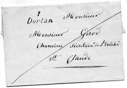 """Cursive """"1 DORTAN"""",L.S.C. Du 18/7/32 Pour St CLAUDE. - 1801-1848: Vorläufer XIX"""