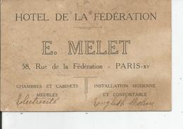 HOTEL DE LA FEDERATION   E.MELLET     PARIS XV - Visiting Cards