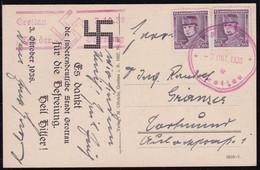 Grottau, Sudetenland, Picture Postcard, Mailed 1938, Provisional Cancellation - Sudetenland