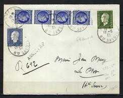 FRANCE 1945: LSC Rec. D'Annecy Pour Le Plot Affr. à 6Fr - Storia Postale