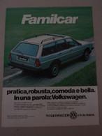 # ADVERTISING PUBBLICITA'  VOLKSWAGEN PASSAT SYNCRO FAMILCAR - 1986  -  OTTIMO - Werbung
