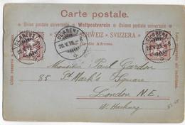 SUISSE - 1898 - CARTE POSTALE ILLUSTREE AVANT 1900 ! De CLARENS => LONDON (GB) ! - Briefe U. Dokumente
