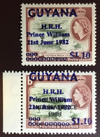 Guyana 1982 Prince William Overprint Birds From Set Lower Value Gum Tone MNH - Sin Clasificación