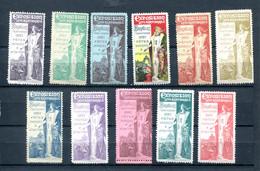 Lot De 11 Vignettes Exposdition Internationale De Bruxelles 1897 - Erinnophilie - Reklamemarken