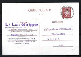 FRANCE 1942: CP Entier De 1,20F De Rumilly (Hte Savoie) Pour Bourg-en-Bresse - Standaardpostkaarten En TSC (Voor 1995)