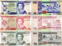 BELIZE 2 5 10 Dollars 2011 - 2017  P 66 67 68 UNC Set Of 3 Banknotes - Belize