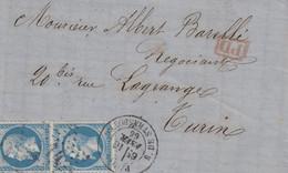 LAC Affr Y&T 22 X 2 Obl étoile 14 + TàD PARIS R DE STRASBOURG Du 16 FEVR 66 Adressée à Turin - 1849-1876: Periodo Clásico