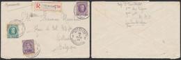 Affranch. Mixte çàd N°139 + N°194 Et 197 Sur Lettre En Recommandé Obl Postes Militaires Belgique 2 (1925) > Ostende. - 1922-1927 Houyoux