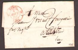 LAC - 4 Août 1831 - T12 (rouge) Revel (Hte Garonne) Pour Castres (Tarn) - Port Dû 2 Décimes - Dateur A Au Dos - 1801-1848: Précurseurs XIX