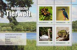 Austria - 2020 - Native Animal Kingdom - Salamander, Kingfisher, Swan, Frog - Mint Souvenir Sheet - 2011-... Nuovi & Linguelle