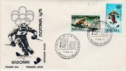 ANDORRE ESPAGNOL FDC 1976 J O MONTREAL - SKI KAYAK - Covers & Documents