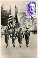 LIBERATION DE PARIS - Les Drapeaux Américains - Carte 1ER Jour, Timbre Général De Gaulle - War 1939-45