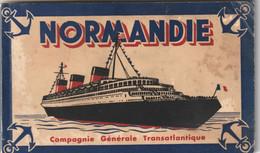 982 - PAQUEBOT NORMANDIE . COMPAGNIE GENERALE TRANSATLANTIQUE .  CARNET COMPLET 12 CARTES . TOUTES SCANNEES - Dampfer