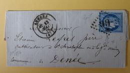 CERES DENTELE 60 SUR LETTRE DE ANGERS A DENEE DU 13 MAI 1872 (GROS CHIFFRE 99 X) - 1849-1876: Periodo Classico