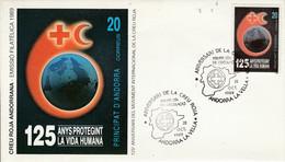 ANDORRE ESPAGNOL FDC 1989 125 ANS DE LA CROIX ROUGE - Covers & Documents