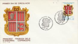 ANDORRE ESPAGNOL FDC 1987 ARMOIRIES - Cartas